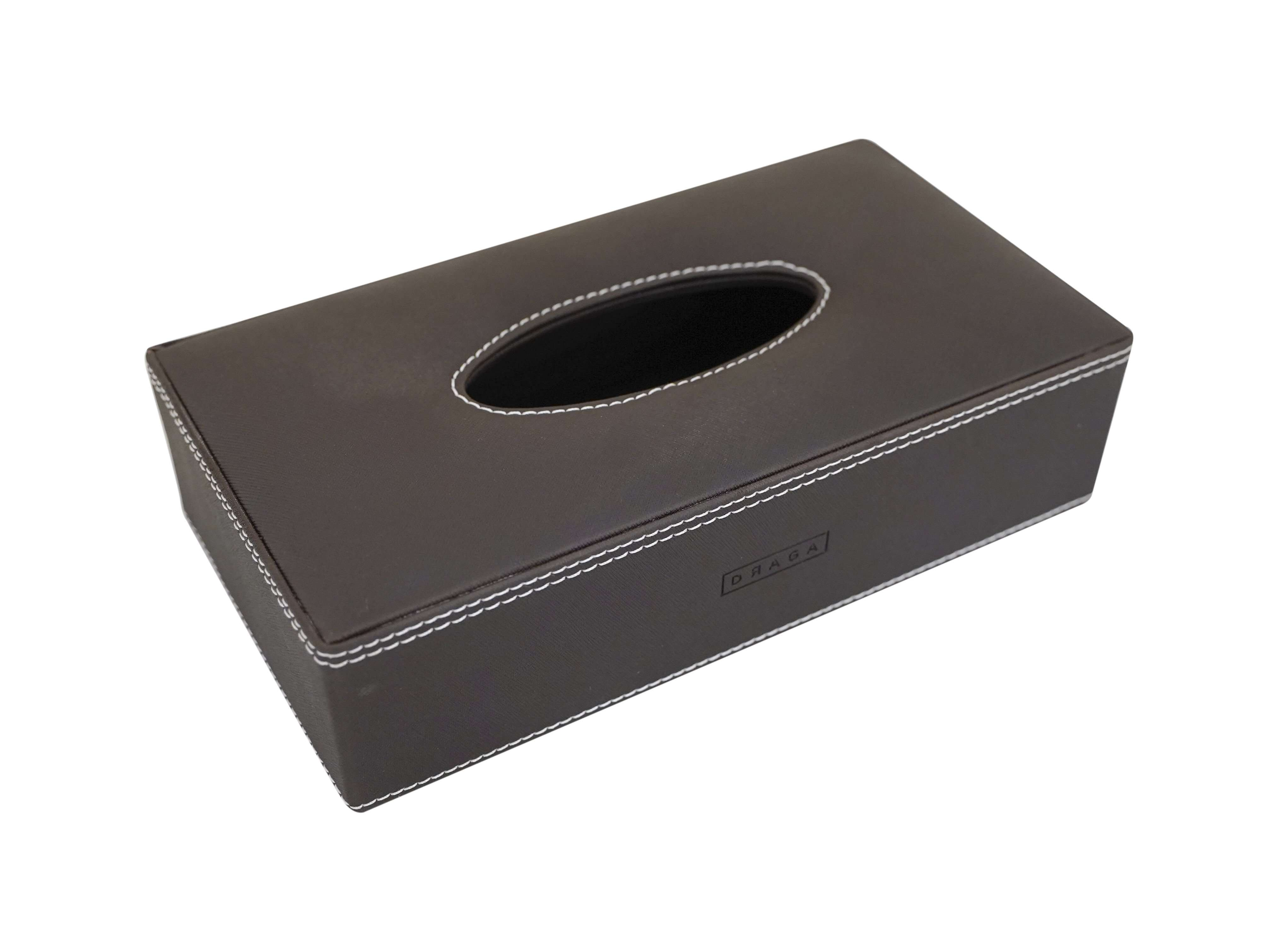 Draga Faux Leather Rectangular Tissue Box