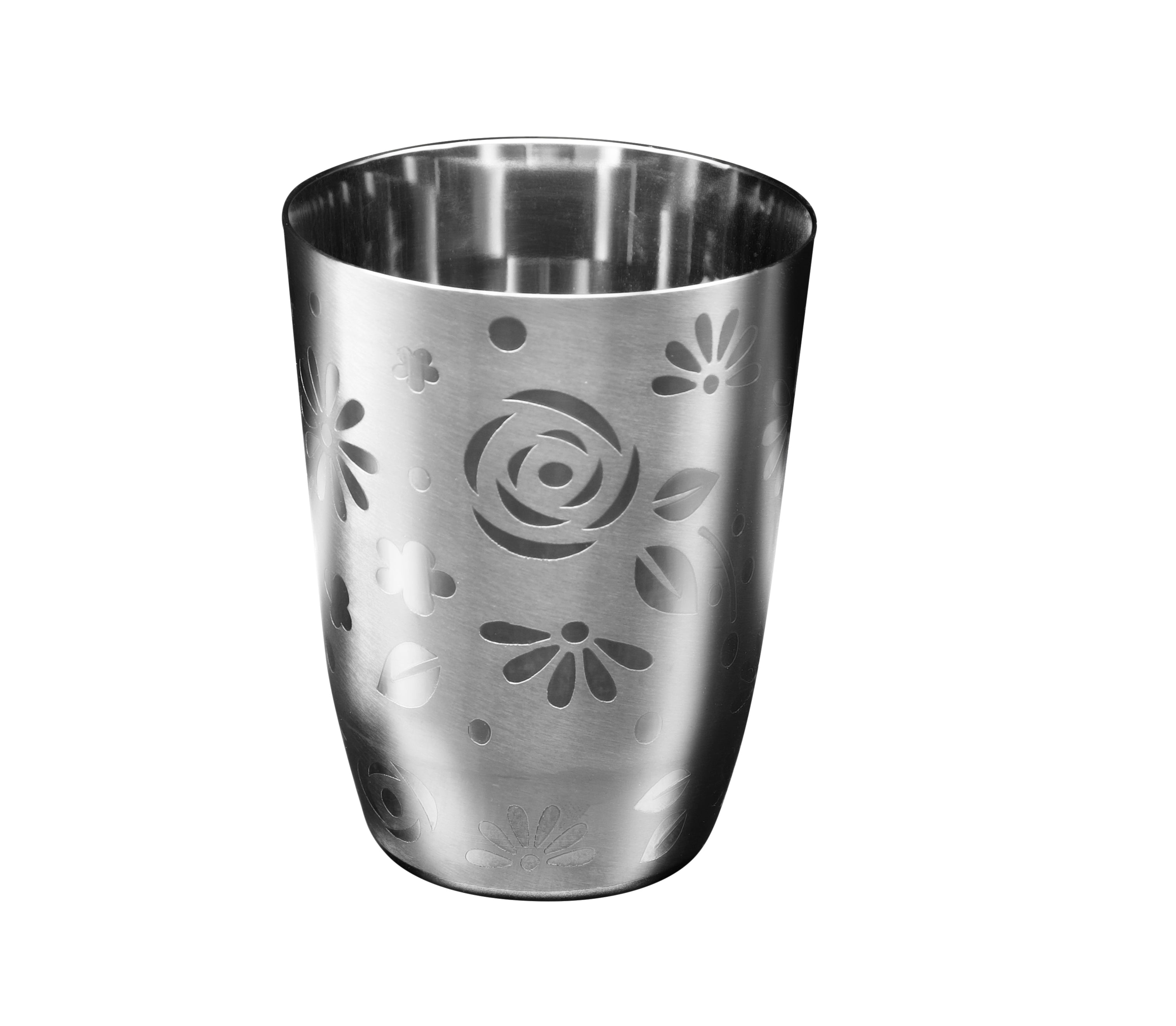 Stainless Steel Floral Round Drinking Glass