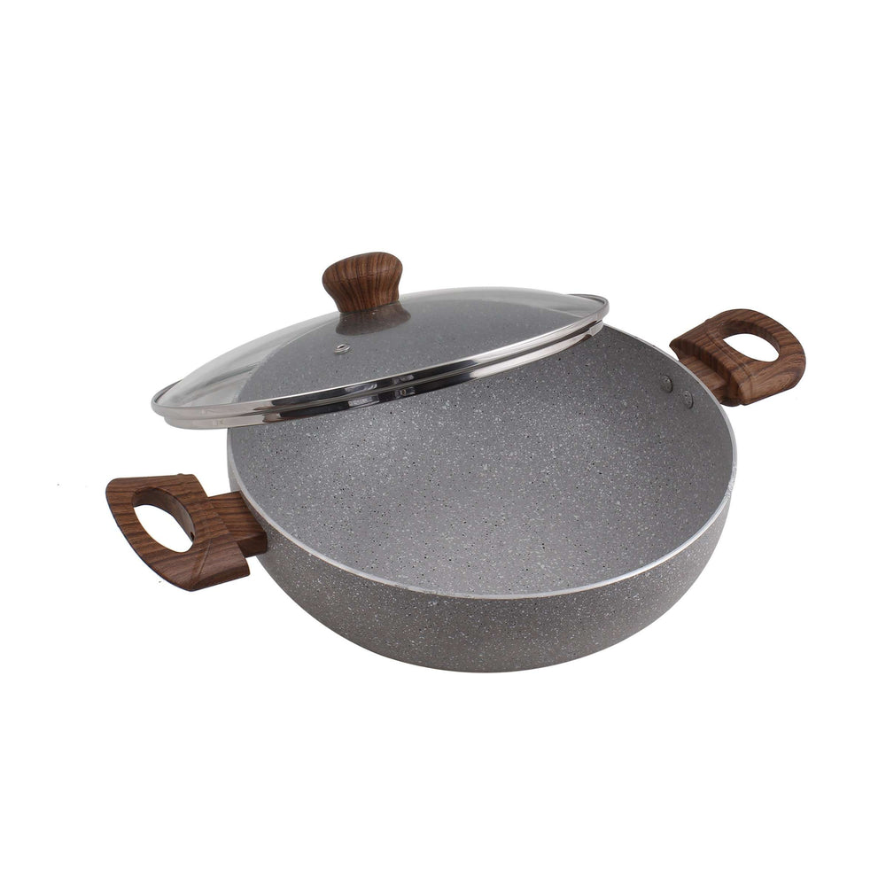 Krav Non-Stick Kadhai with see through lid | Marble Granite - 24 cm