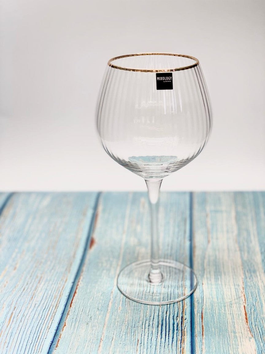 Ribbed Gold Rim Gin Glass | 600 ml (Set of 4 Pieces)