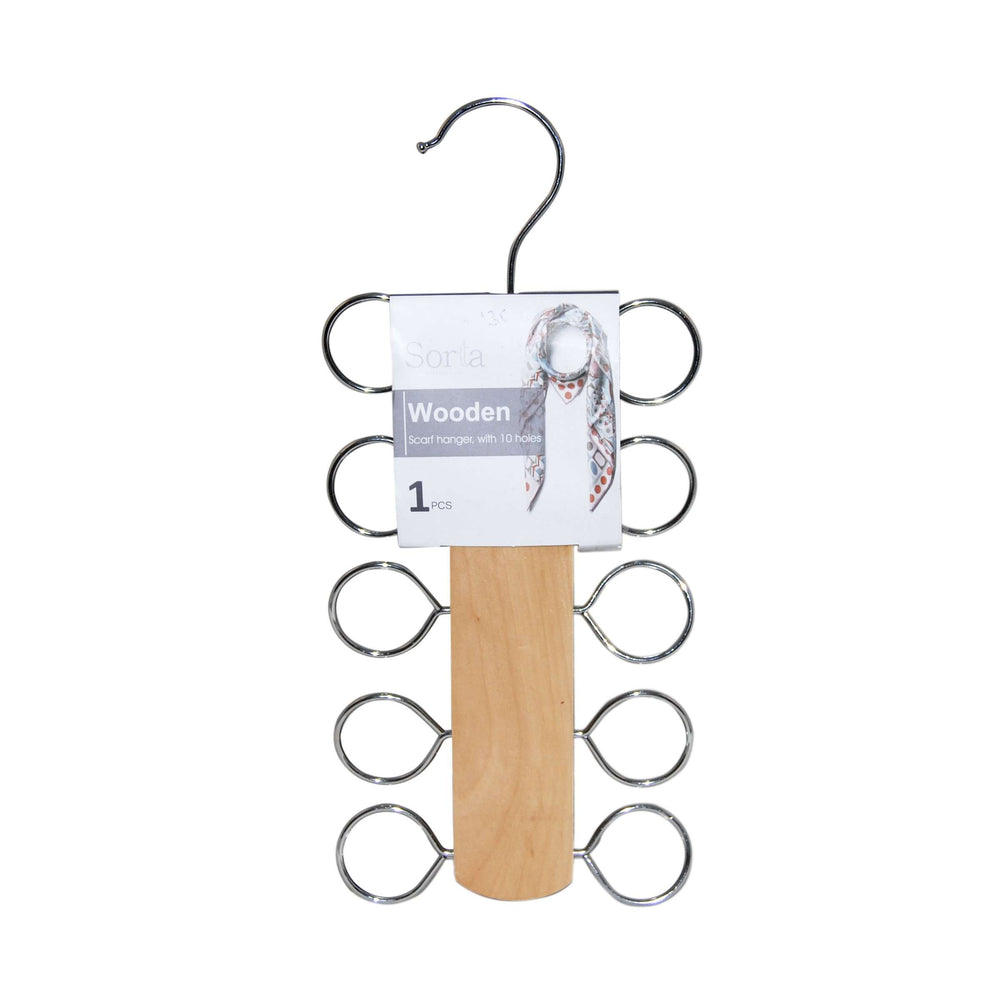 Sorta Wooden Scarf Hanger with 10 Holes, Natural Color Whs5013