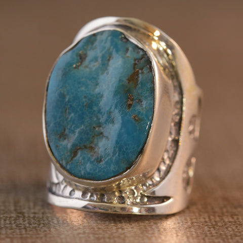 Raw Turquoise Pebble Ring