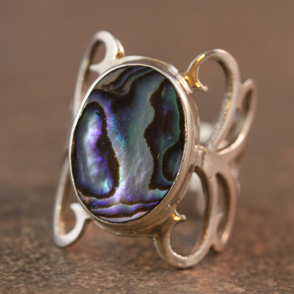 Abalone Flutter Wings Ring