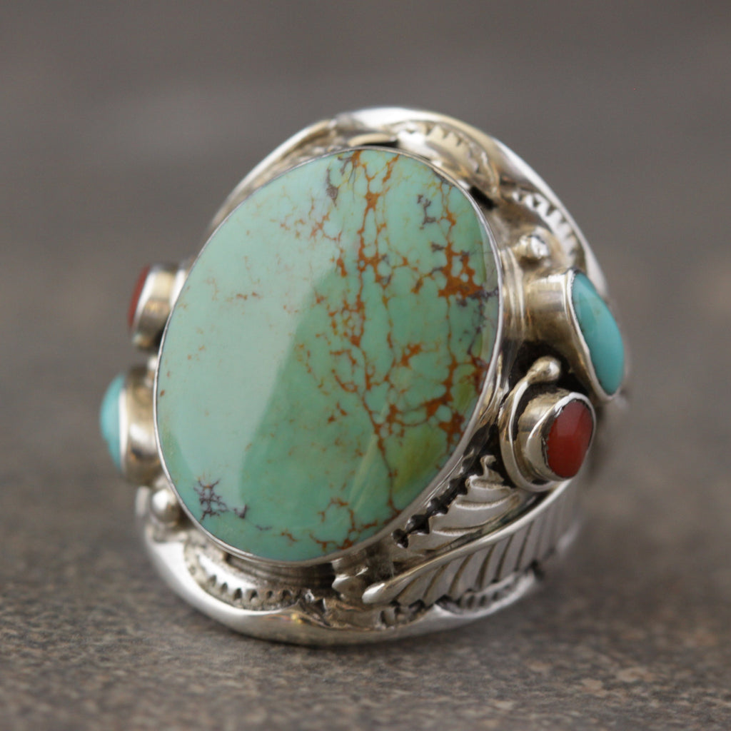 Turquoise and Coral Indian Ring