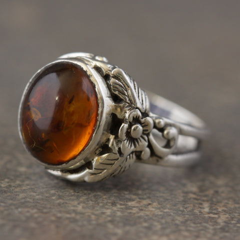 Hint of Tribal Amber Ring