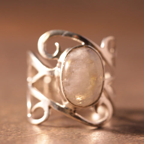 Rainbow Moonstone Carved Out Ring