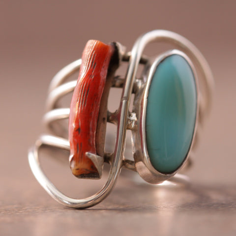 Modern Notes Turquoise and Coral Ring