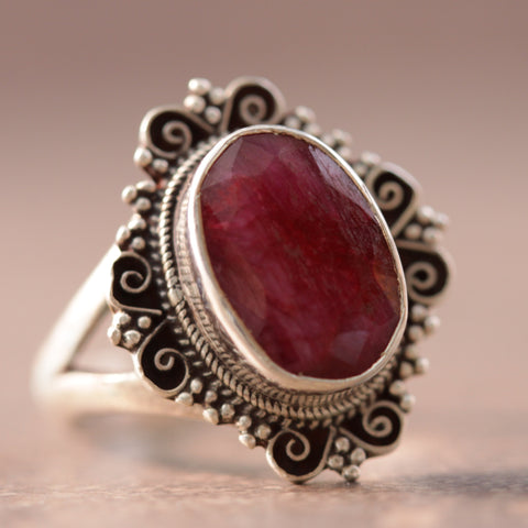 Raw Ruby Victoria Ring