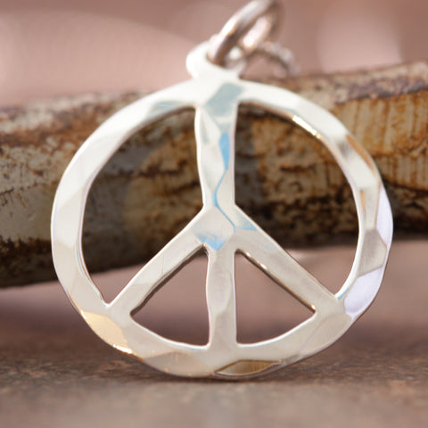 Hammered with Peace Necklace