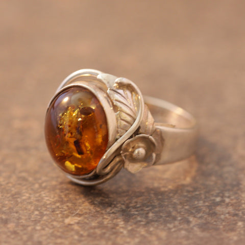 Side of Tribal Amber Ring