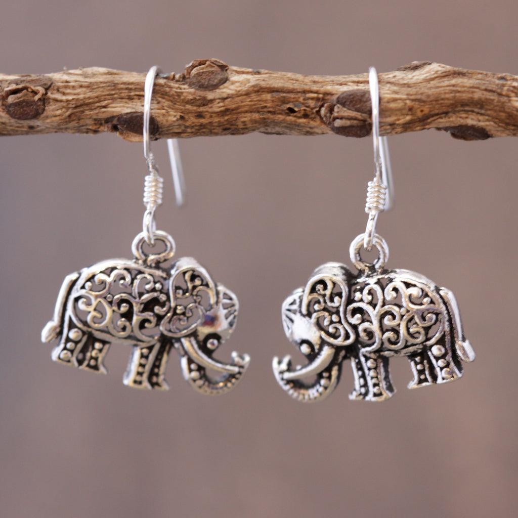 Intricate Elephant Earrings