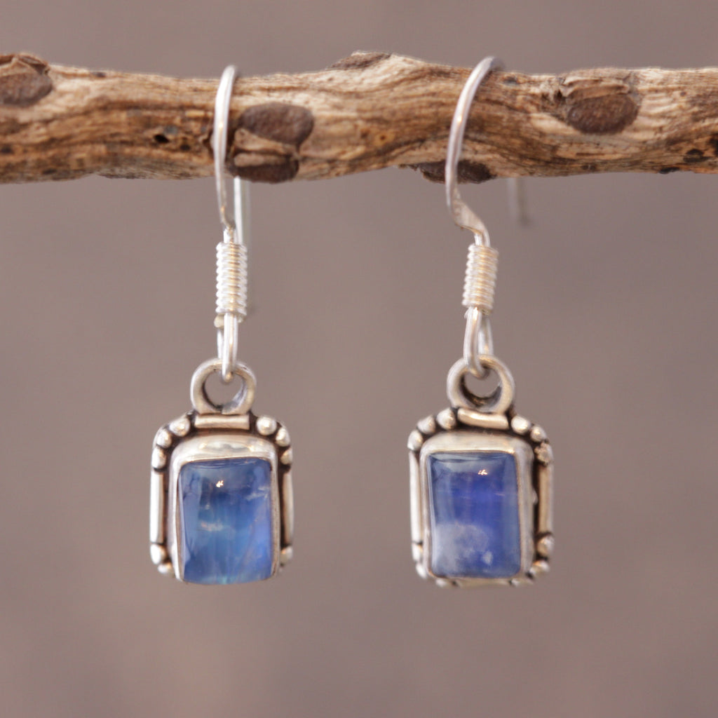 Minimalist Square Moonstone Earrings