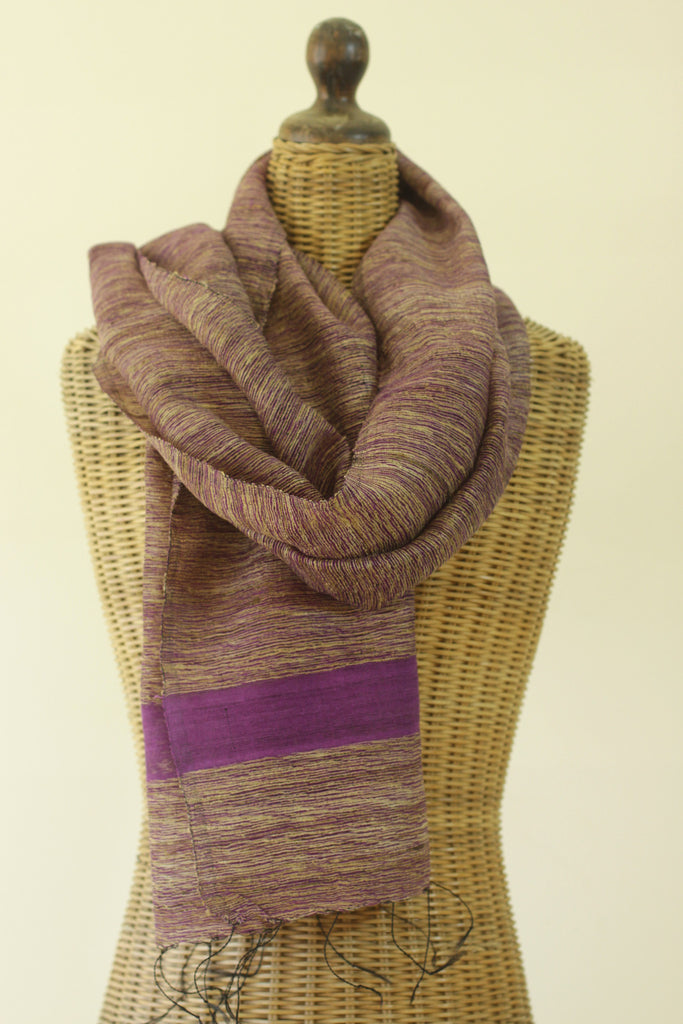 Textured Raw Silk Purple Scarf