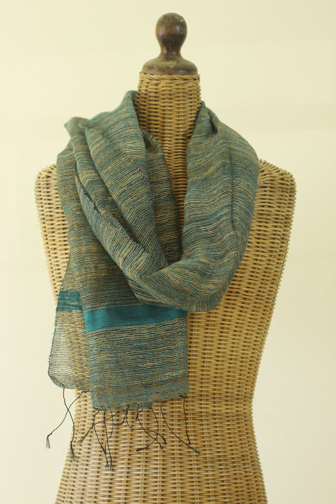 Textured Raw Silk Teal Scarf