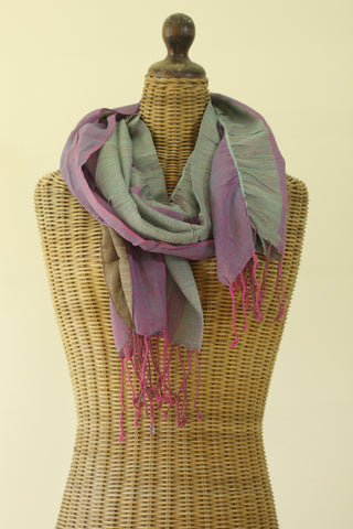 Textured Flutter Scarf - Purple/Green