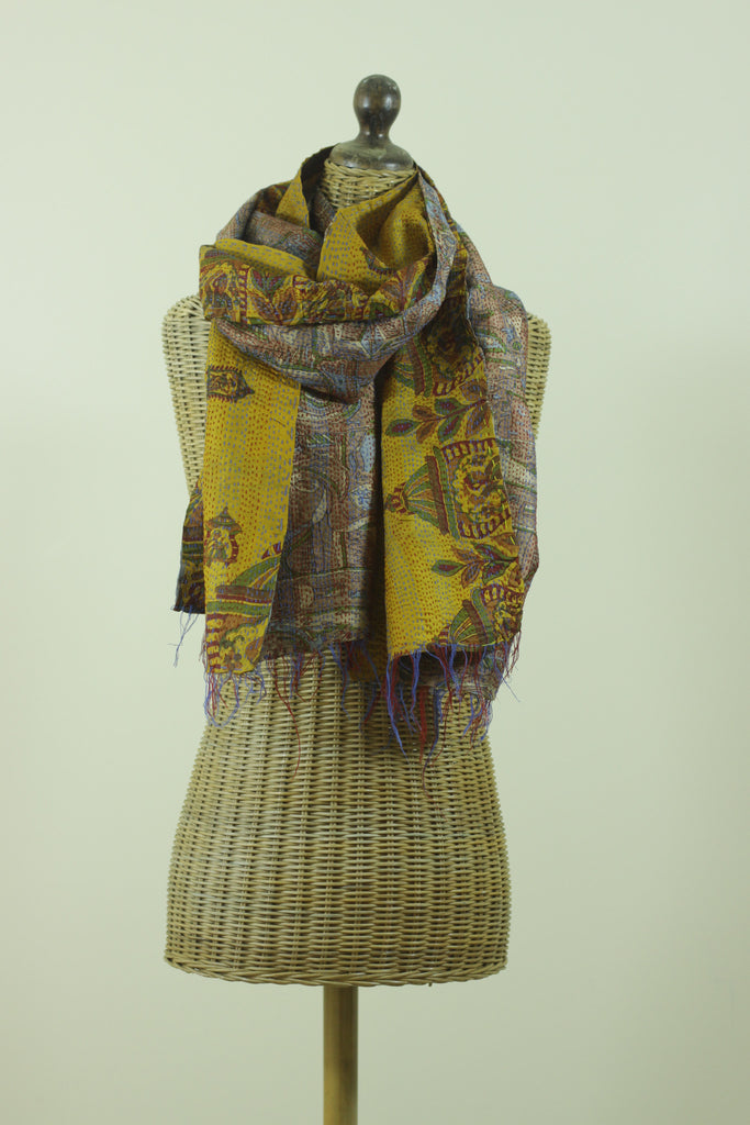 Golden Kantha Silk Scarf