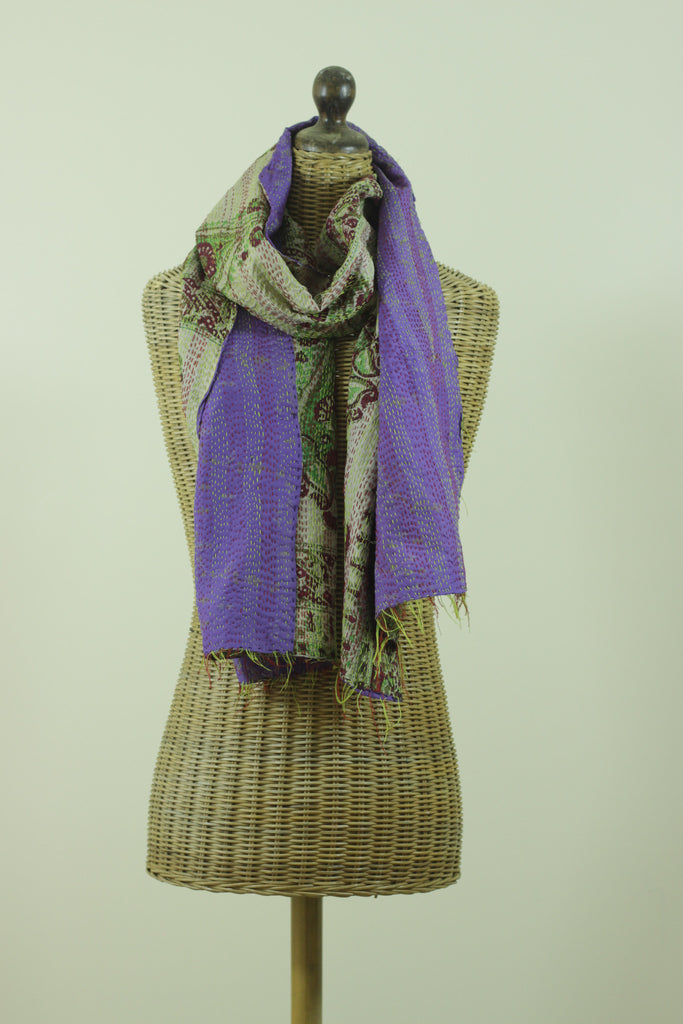 Bodhi Purple Kantha Silk Scarf