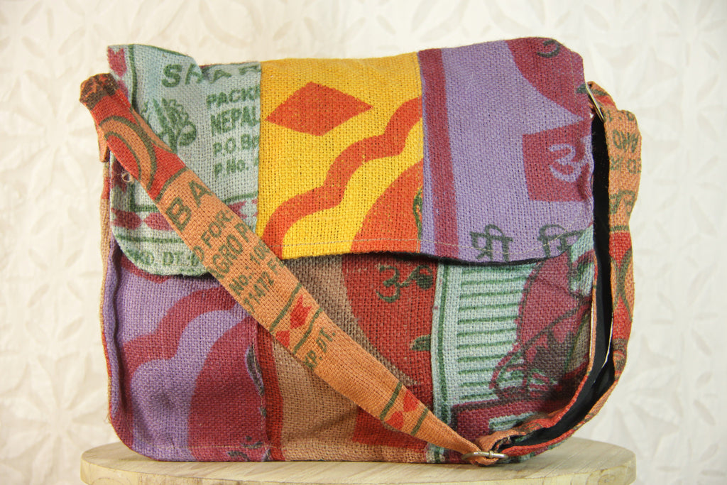 Om Burlap Messenger Bag