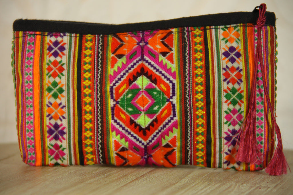 Gypsy Embroidered Clutch - Neon Multi