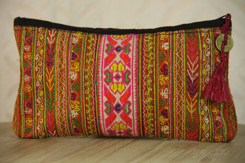 Gypsy Embroidered Clutch - Pink Multi