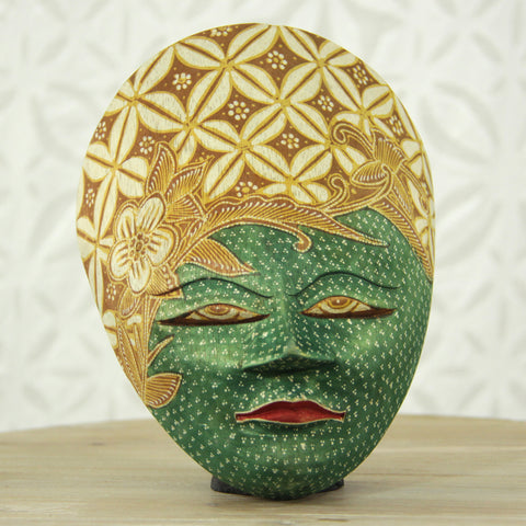 Balinese Painted Mask - Emerald
