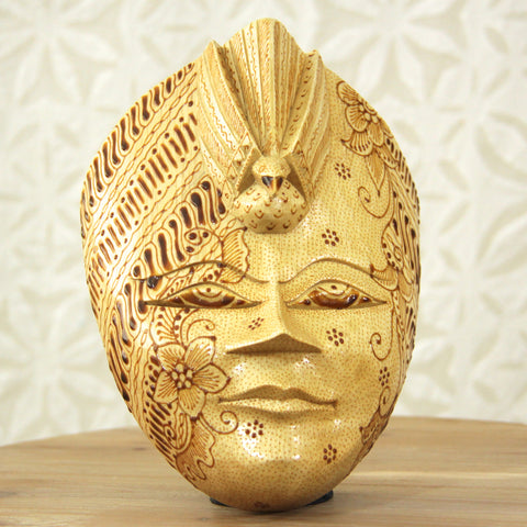 Balinese Painted Mask - Natural