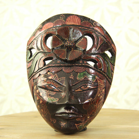 Balinese Painted Mask - Mauve