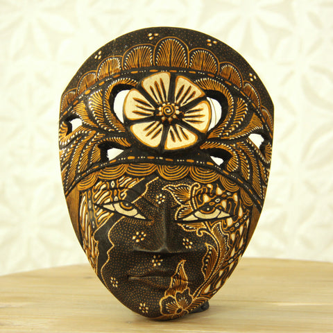 Balinese Painted Mask - Black Sand