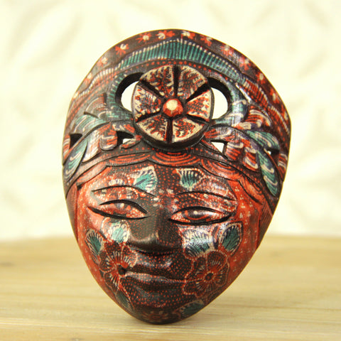 Balinese Painted Mask - Red Sky