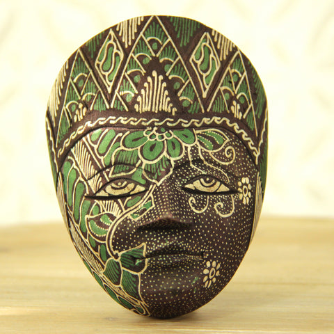 Balinese Painted Mask- Lime