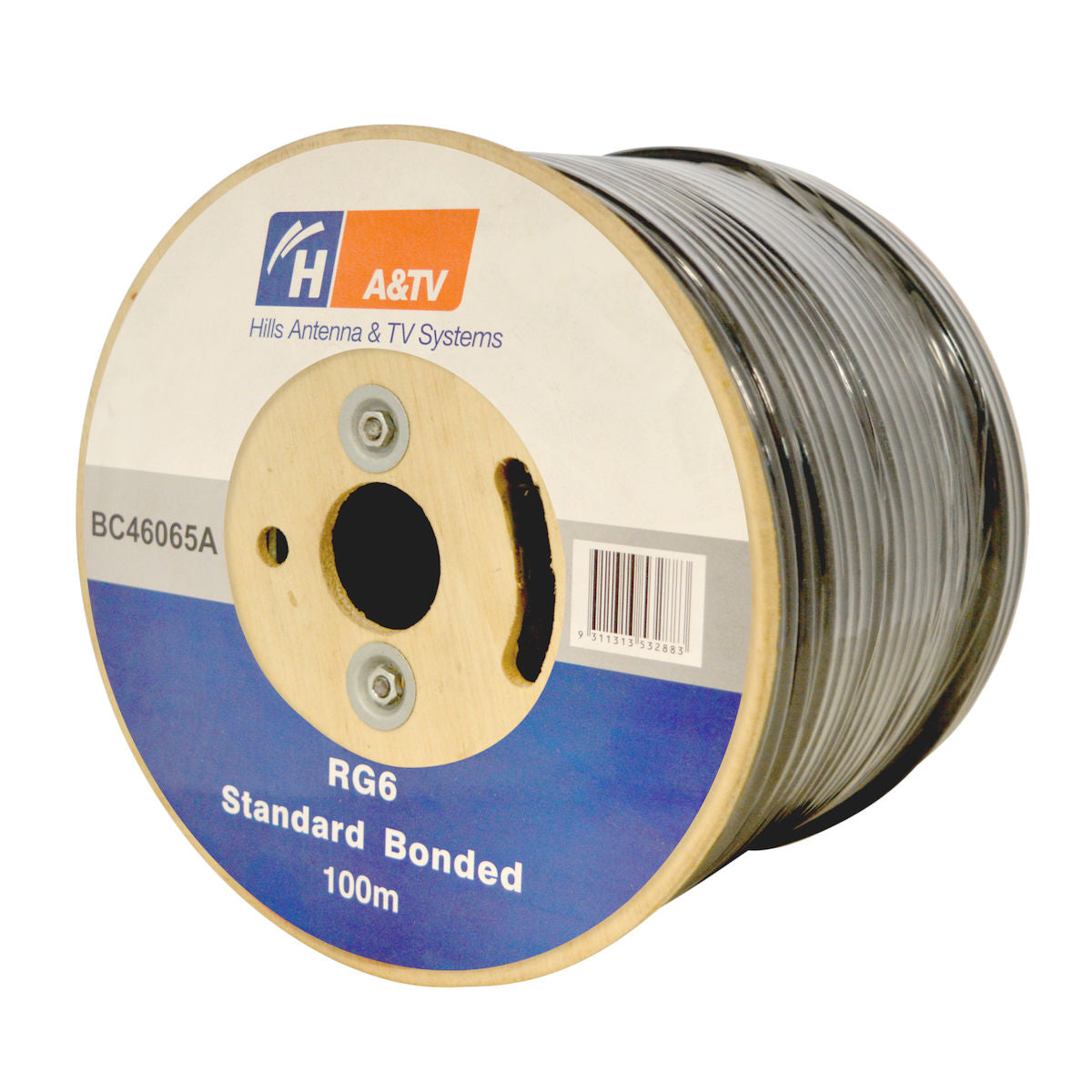 Hills BC46065A RG6 Standard Bonded 100m Coaxial Cable Reel