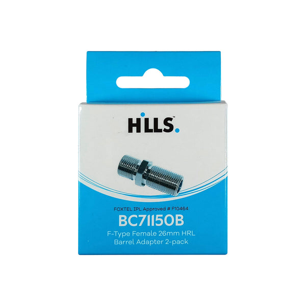 Hills BC71150B F-Type Female to Female Barrel High Return Loss Adaptor 2-Pack in Box