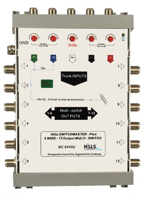 Hills BC84492 5-Wire, 12 Output Multiswitch