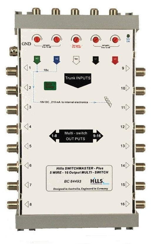 Hills BC84493 5-Wire, 16 Output Multiswitch