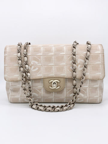 Angel Locsin's CHANEL Timeless Classic Flap Travel Line Cc Logo Jacquard  Beige/Off White Nylon Shoulder Bag