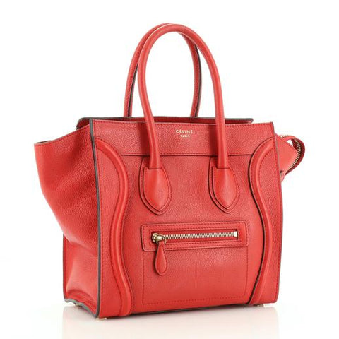 Regine Velasquez's CELINE Red Drummed Leather Luggage Tote Bag