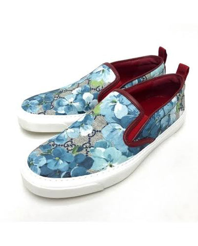 Aivee Aguilar-Teo's GUCCI GG Supreme Monogram Women's Blooms Print Slip On Sneakers Blue
