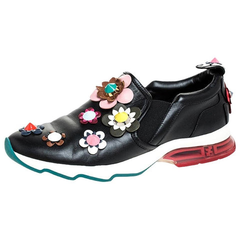 Karla Estrada's Fendi Black Leather Flowerland Fast Slip On Sneakers