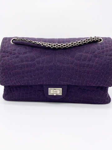 Angel Locsin's CHANEL 2.55 Reissue Jersey Croc Embroidered Classic Flap Purple Fabric Shoulder Bag