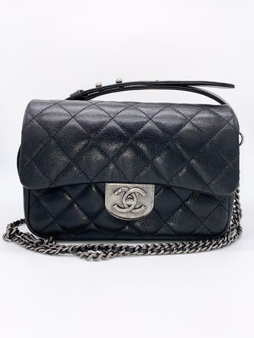 Anne Curtis' CHANEL Black Goatskin Small Double Carry Waist Chain Flap Bag