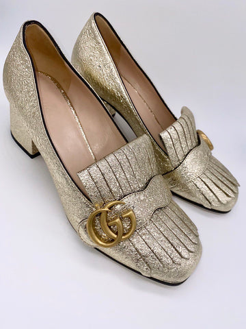 Vicki Belo's GUCCI Metallic Silver Foil Leather Gg Marmont Fringe Detail Block Heel