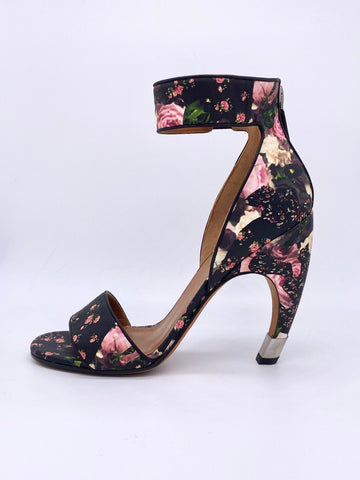 Vicki Belo's Givenchy Leather Floral Curved Heel D'Orsay Sandals