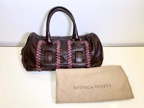 Vicki Belo's Bottega Veneta Intrecciato Trimmed Leather Satchel Bag