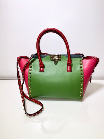 Vicki Belo's VALENTINO Rockstud Italian Tri-color Pop Shopper Pink/Blue/Green Leather Tote