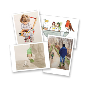 Pack of 4 x A6 postcards (4 different designs)