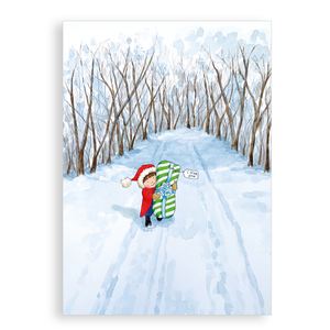 Pack of 5 printed Christmas cards - A Snowy Delivery