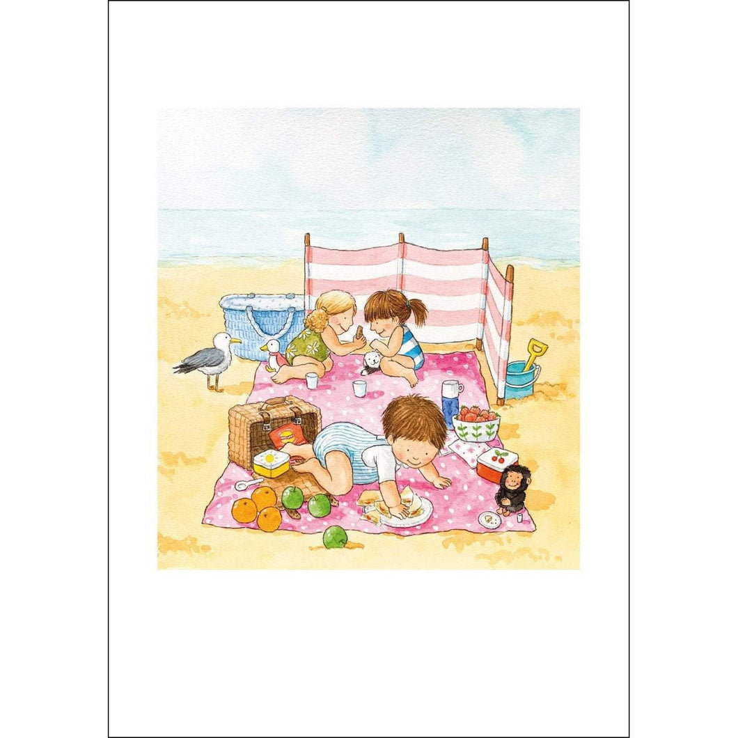 The Beach Picnic (A4 hand signed print)