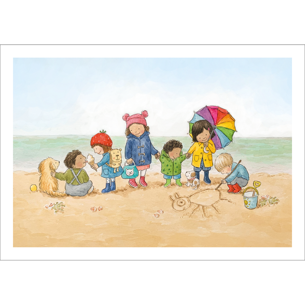 Fun at the Beach (A4 hand signed print)