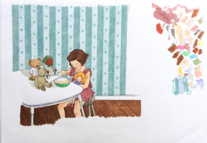 Breakfast time - Original signed artwork in marker pen and pencil crayon