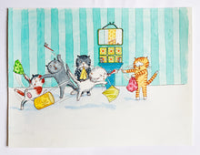 Load image into Gallery viewer, Cecil's Toothbrushing Time - Original signed artwork in black ink and watercolour.